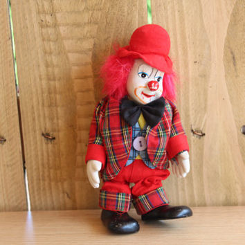 Clown Doll Porcelain Face and Stuffed Body Red Outfit, Red  Hair, Home Decor