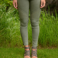 Go For It Moto Pants- Olive