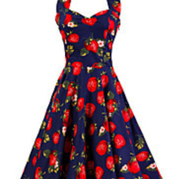 Women's Dark Blue Strawberry Pattern Floral Dress Vintage Halter 50s Rockabilly Swing Dress