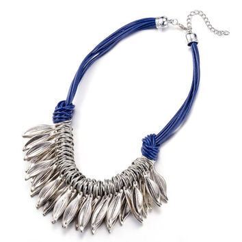Silver Leaves with Royal Blue Cord Statement Necklace