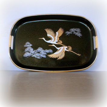 1960's Vintage HOLLYWOOD REGENCY TRAY - Chinoiserie Chic Black with Flying Crane Birds -Black Japanese Lacquerware - Faux Bamboo Handles