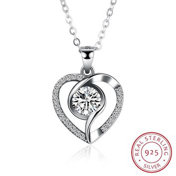 S925 Silver Necklace Creative Fashion Personality Inlaid Heart-Shaped Necklace