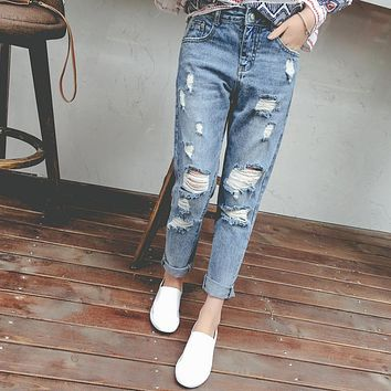 Preppy Style High Waist Womans Jeans