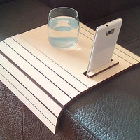 Modern sofa table,laser cut wood,sofa tray table,cell phone stand,sofa table,coffee table,wood tray,armrest table,lap desk,laptop stand