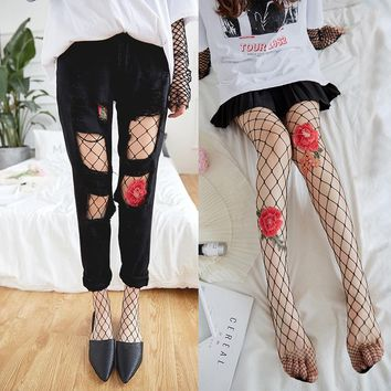 2017 Sexy Women Chic Rose Floral Emboss Transparent Tights Fishnet stockings Mesh Pantyhose High Elastic Silk Stockings