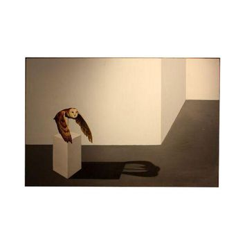 Pre-owned Oil Painting - Owl on Podium