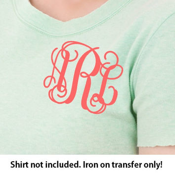 Monogram Iron On, Monogram Iron On Transfer, Iron On Letters, Heat Transfer Monogram