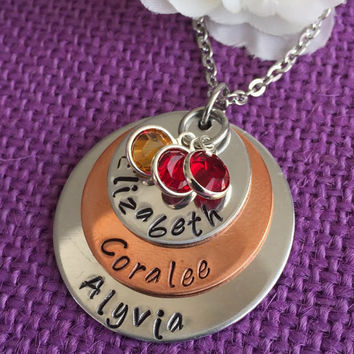 Mom Necklace - Mother's Day Gift - Personalized  Mom Necklace - Stacked Disc Birthstone Necklace - Family Jewelry - Gift for Mom