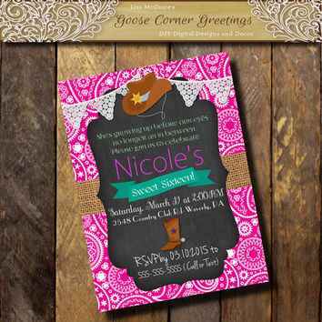 Paisley Sweet 16 Birthday invitation 1st 2nd 3rd 4th 5th Cowgirl Hot Pink Teal Burlap Chalkboard any color Baby Shower Bridal