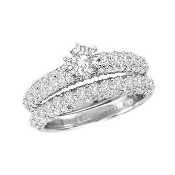 1-3/4 CT. T.W. Diamond Bridal Engagement Ring Set in 14K White Gold