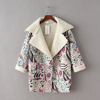 Casual Floral Print Turn Down Collar Long Sleeve Coat