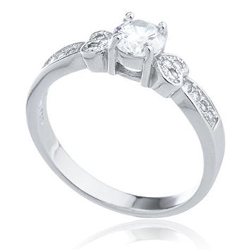 925 Sterling Silver Double Heart and Cz Stones Promise Ring