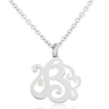 Stainless Steel Monogram Script Alphabet Letter Pendants with an Adjustable 18 Inch Link Necklace