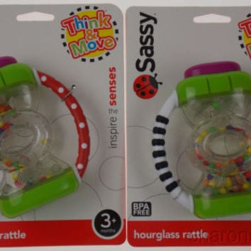 Set 2 Sassy Think & Move Hourglass Hand Rattle Baby BPA Free Baby Infant Toy NEW