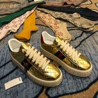 Gucci Crystal Diamond Muffin Thick Base Gold Women Casual Shoes Sneaker