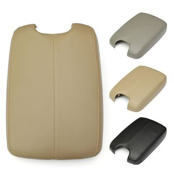 Car Console Lid Armrest W/ Real Leather Armrest Cover