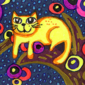 Cat Art Print, Cat Decor, Whimsical Animal Art, Cat Art, Yellow Cat Print, Childrens Room Decor,Treetop Cat by Paula DiLeo_129101