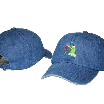 Kermit The Frog Drinking Iced Tea Meme Blue Jean Dad Hat
