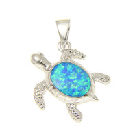 925 Sterling Silver Rhodium Hawaiian Honu Sea Turtle Opal Pendant Charm