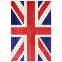 Mohawk Home Outdoor Patio Woven Red Union Jack Jockey Rug