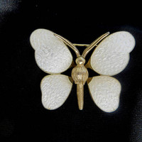 Vintage Butterfly Brooch, White Enamel, Bug Jewelry, Insect Pin