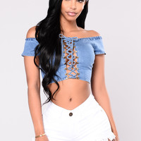 Moscow Denim Crop Top - Medium Wash
