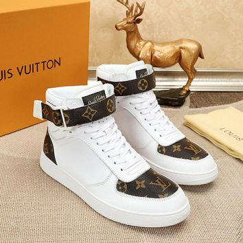 LV Louis Vuitton Men High Top Monogram Casual Boots Sneakers Sport Shoes  Fashion Best Quality WHITE