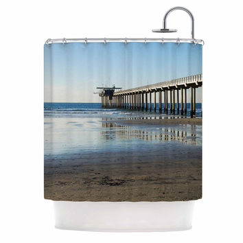 "Nick Nareshni ""Scripps Beach Pier"" Coastal Photography Shower Curtain"