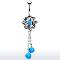 14g Dangling Turquoise Belly Button Ring Dangle Navel Body Jewelry Piercing with Surgical Steel Curved Barbell 14 Gauge