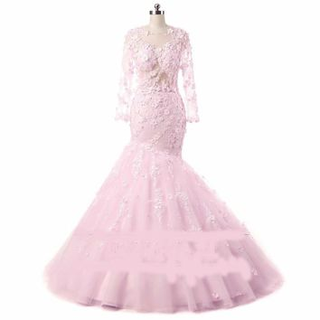Gorgeous Pink Flower Wedding Dresses Detachable train bridal gowns with flowers and feathers long sleeves wedding gowns