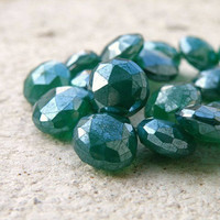 Mystic Green Onyx Briolette AAA Emerald Green Faceted Heart 10mm 1/2 Strand Wholesale