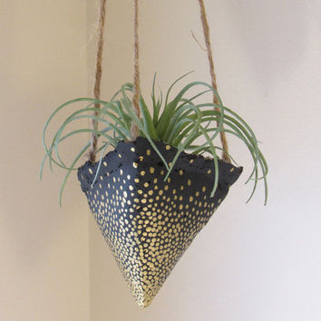 Concrete Planter, Hanging Succulent Pot, Modern Geometric Planter, Black Gold Plant Holder, Air Plant Holder, Office Planter, Home Decor