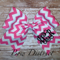 "3"" Pink and White Chevron Cheer Bow with Monogram"