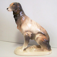 Mid Century Bone China Borzoi, Sitting Russian Wolfhound, 5.5 Inch High, Dog Figurine, Hand Painted 118