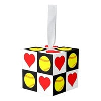 Cute Fastpitch Softball & Heart Checkered Pattern Cube Ornament