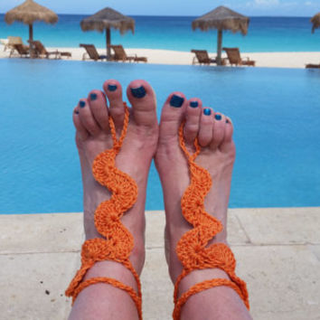 Barefoot sandals - Foot Jewelry, Beach wedding, Lace Barefoot Sandals, Crochet Yoga shoes, For Her, Bridal foot jewelry