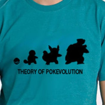 Theory of  Pokevolution Squirtle Tee Shirt by DesignNoy on Etsy