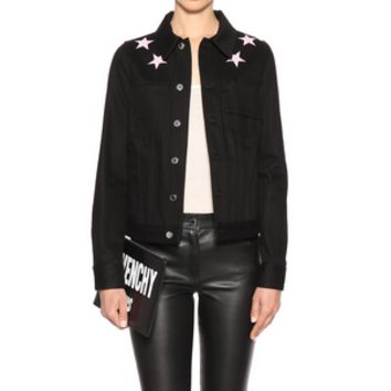 """""""Givenchy"""" Women Simple Fashion Five-pointed Star Embroidery Long Sleeve Denim Cardigan Short Coat"""