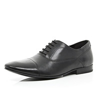 River Island MensBlack leather lace up formal shoes