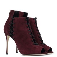 Sergio Rossi Maroon Ankle Booties - Sergio Maroon Lace-up Booties