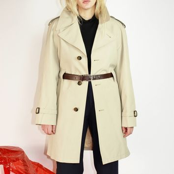 70s Lined Trench Coat L
