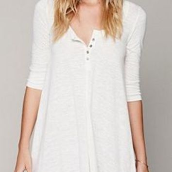 See You Soon White 3/4 Sleeve Button Henley Asymmetric Tunic Top Mini Dress