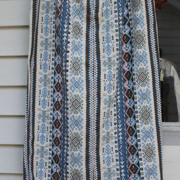 Backyard Blue Denim Skirt, Aztec Geometric Print, Deadstock