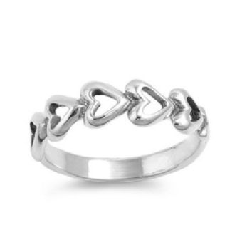 Sterling Silver CZ Infinity Heart Ring Size 1-5