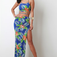 Tropical Backless Crop Top With Maxi Skirt Set | UrbanOG