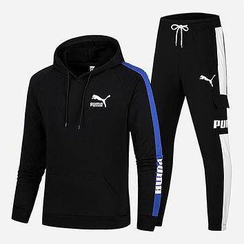 PUMA 2018 winter new men's casual wear thick warm hooded sweater two-piece Black