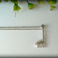 Tiny Giraffe Necklace in Silver by saffronandsaege on Etsy