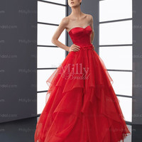 A-line Sweetheart Red Belt Organza Floor-length Prom Dress at Millybridal.com
