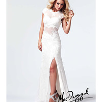 (PRE-ORDER) Mac Duggal 2014 Prom Dresses - Ivory Beaded Cap Sleeve Prom Dress