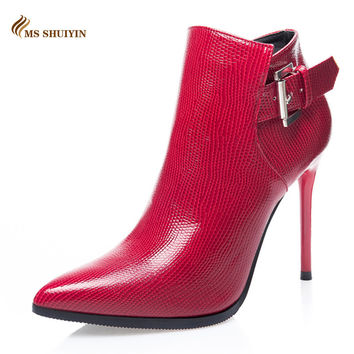 Brand women boots elegant patent leather shoes woman Autumn winter ankle boots pointed toe buckle high heels boots